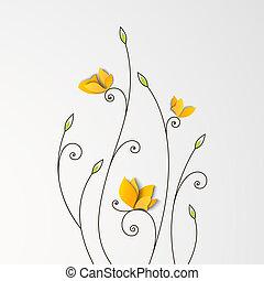 花, 蝶, ペーパー, 背景