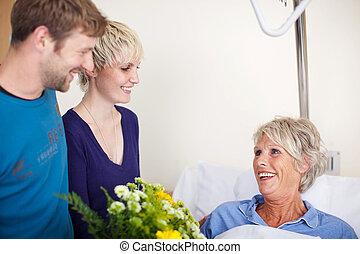 花, 訪問, 花束, 病院, 母, 子供