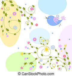 花, 鳥, 背景