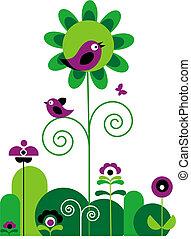 花, 鳥, 蝶, 渦巻, 緑, 紫色