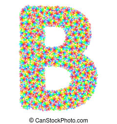 花, b, アルファベット, カラフルである, 手紙, 作曲された, シンボル, ガラス