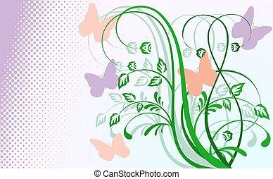 花, butterflies., 抽象的, 背景