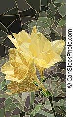 花, iris., モザイク, 黄色