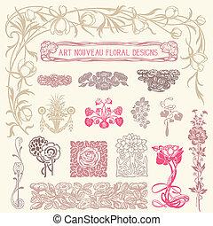 花, ornaments., セット, 型