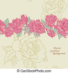 花, -, seamless, 手, ばら, ベクトル, 背景, 引かれる