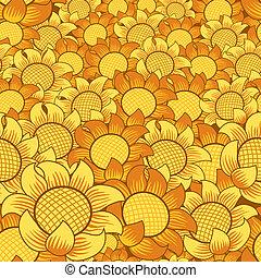 花, seamless, 黄色の背景, オレンジ, 繰り返すこと