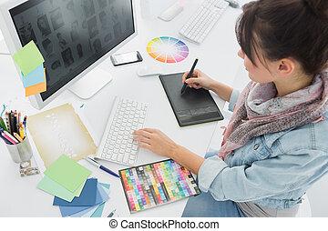芸術家, 何か, グラフィック, デッサンのタブレット, オフィス