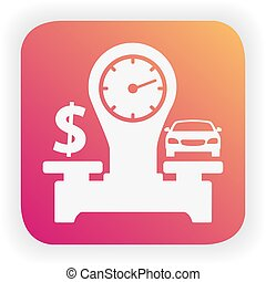 芸術, スケール, 線, icon., vector.choice, 自動車, アメリカ, vehicle., お金, 平ら, ドル