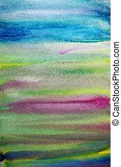 芸術, ペイントされた, 手, 水彩画, 背景, しまのある, 創造的