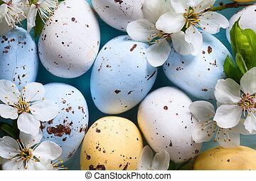 芸術, 春, 卵, 背景, 花, イースター