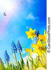 芸術, 春, 背景, 新鮮な花, イースター