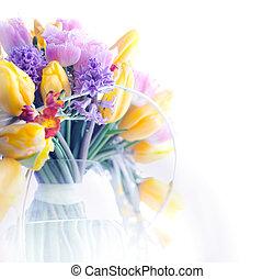 芸術, 美しさ, カラフルである, フレーム, -, 背景, 花, ボーダー