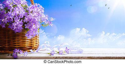 芸術, 背景, 春, 空, イースター, 花, 青