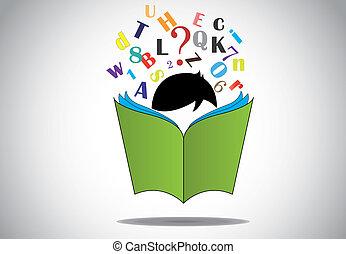 芸術, numbers., 勉強, 教育, 開いた, 教育しなさい, &, ∥髪をした∥, concept., 若い, 勉強, 本, 黒, 読書, 痛みなさい, 3d, イラスト, 子供, アルファベット, 子供, 男の子, 緑, 試験, 学びなさい, 楽しみ, ∥あるいは∥