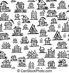 芸術, seamless, 家, デザイン, 背景, あなたの