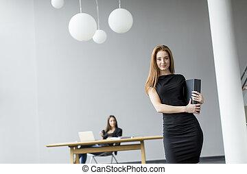 若い, オフィス, 女性