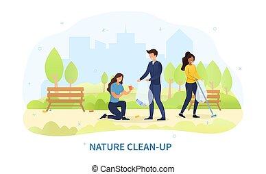 若い, グループ, 公園, 清掃, 多様, 人々