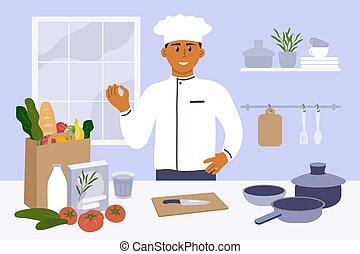 若い, ジェスチャー, 料理, シェフ, 台所, 提示, おいしい