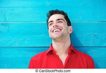 若い, 屋外で, 肖像画, 微笑, ハンサム, 人