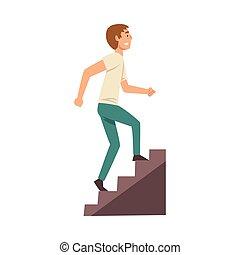 若い, 歩くこと, イラスト, 階段, 人, 衣服, の上, ベクトル, 偶然