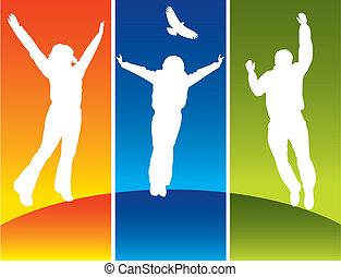 若い, 跳躍, 3人の人々
