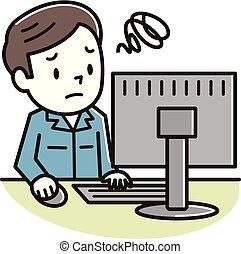 若者, コンピュータ, 悩まされている, 個人的, 見なさい