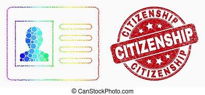 苦脳, 切手, スペクトル, ベクトル, pixelated, シール, 市民権, アイコン, カード, ユーザー