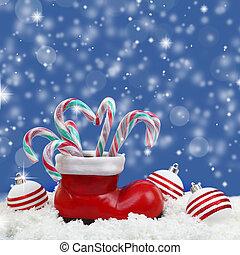 茎, santas, ブーツ, 雪, キャンデー, クリスマス