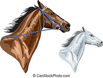 茶色の馬, 頭, -, 2, eps, バージョン, 添え金, white., 取り去られた, 缶