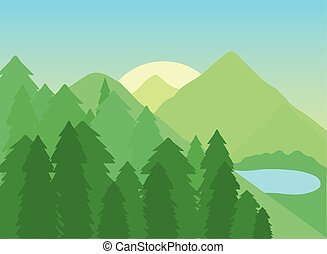 草木の栽培場, 森林, 風景, 木, 湖, 山