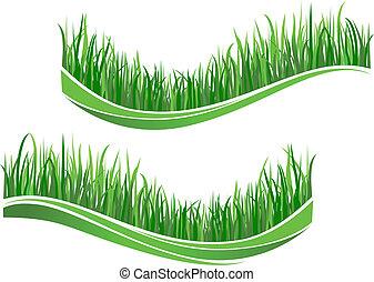 草, 緑, 波