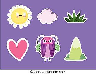草, 面白い, 太陽, 虫, アイコン, 心, 漫画, 動物, 山