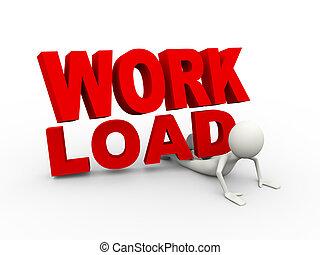 荷を積みなさい, 概念, 仕事, 負担, 3d, 人
