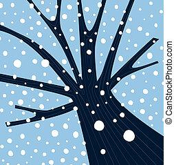 落ちる, 木の 冬, 雪