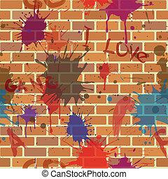落書き, 壁, seamless, ペンキ, 汚い, れんが