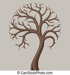 落葉性, トランク, 低い, 木