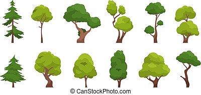 落葉性, ベクトル, 木, オーク, 単純である, 松の木, クリスマス, 漫画, 球果を結ぶ, 隔離された, plants., セット, 平ら, 森林, 木。, 植物相