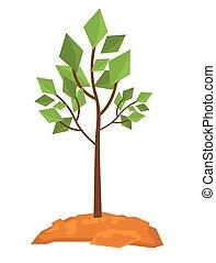 落葉性, illustration., ベクトル, 大きい木