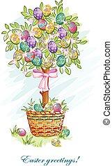 葉書, 卵, イースターバスケット, お祝い