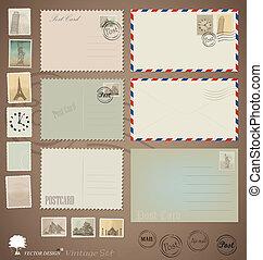 葉書, 型, デザイン, ベクトル, stamps., 封筒, set: