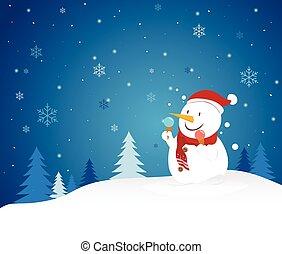 葉書, snowman., 陽気, 年, 新しい, クリスマス, 幸せ