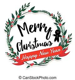 葉書, text., calligraphic, 陽気, 年, 新しい, クリスマス, 幸せ