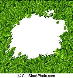 葉, しみ, 緑の背景
