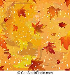 葉, グランジ, 背景, watercolorl, 積雪量, 背景, 秋, 定型, 汚された, 秋