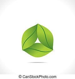 葉, 創造的, アイコン, 緑, デザイン