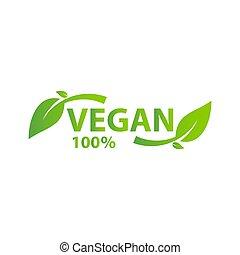 葉, 有機体である, ロゴ, タグ, ラベル, vegan, アイコン, エコロジー, 緑, bio