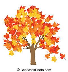 葉, 木, 秋, ベクトル, 背景, かえで