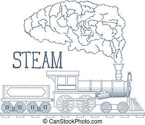 蒸気, 刻みなさい, ベクトル, 列車, 型, illustration.