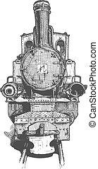 蒸気, 機関車, レトロ
