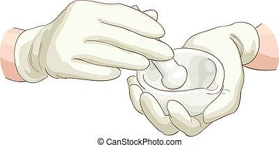 薬剤師, すりこぎ, mortar., 手